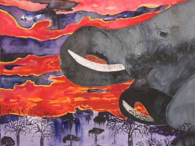 Zimbabwe: Elephant Sunset